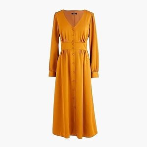 J crew button front a line midi dress